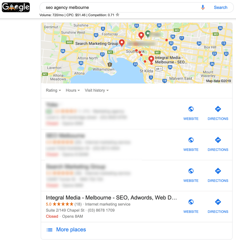 seo agency melbourne gmb result